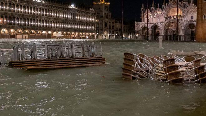 Plaza de San Marcos inundada el martes por la noche.