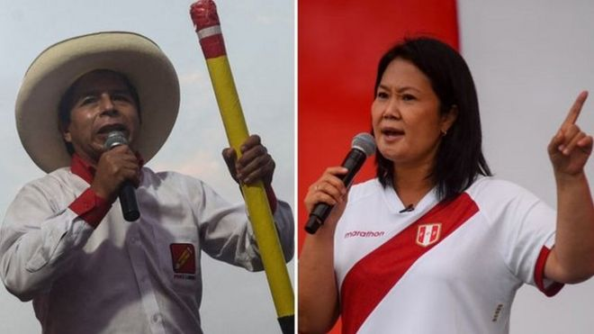 Composite picture with Peruvian rival presidential candidates Pedro Castillo and Keiko Fujimori