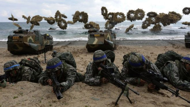 what are the us south korea war games bbc news