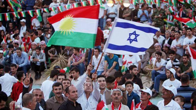 پرچم اسرائیل در کنار پرچم اقلیم در کردستان عراق