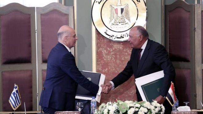 Yunanistan Dışişleri Bakanı Nikos Dendias ve Mısır Dışişleri Bakanı Sameh Shoukry