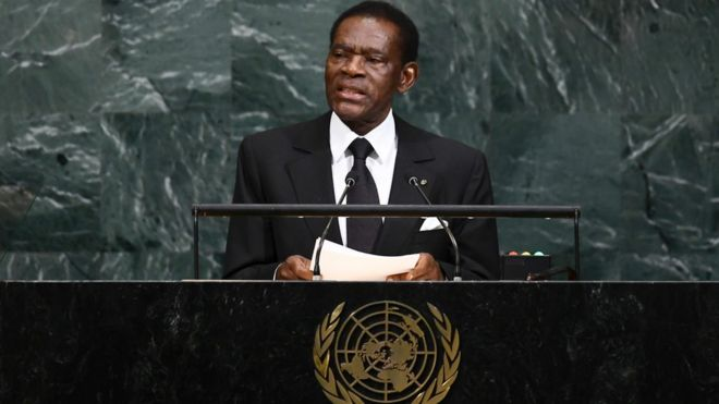 File photo of Equatorial Guinean President Teodoro Obiang Nguema Mbasogo addressing United Nations General assembly at the UN headquarters in New York on 21 September 2017