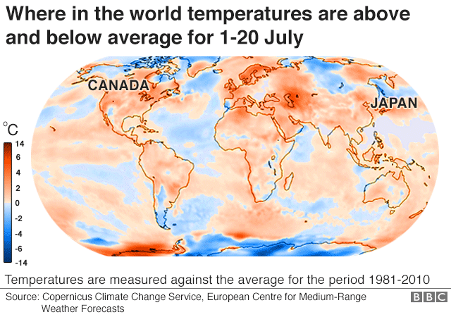 Reality check mapping the global heatwave bbc news map showing the countries where temperatures are above and below average for 1 to 20 july gumiabroncs Images