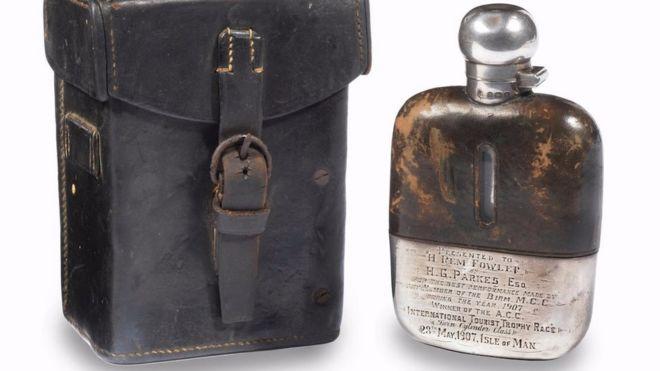 isle of man tt 1907 winner s flask silver sold for 25 000 bbc news