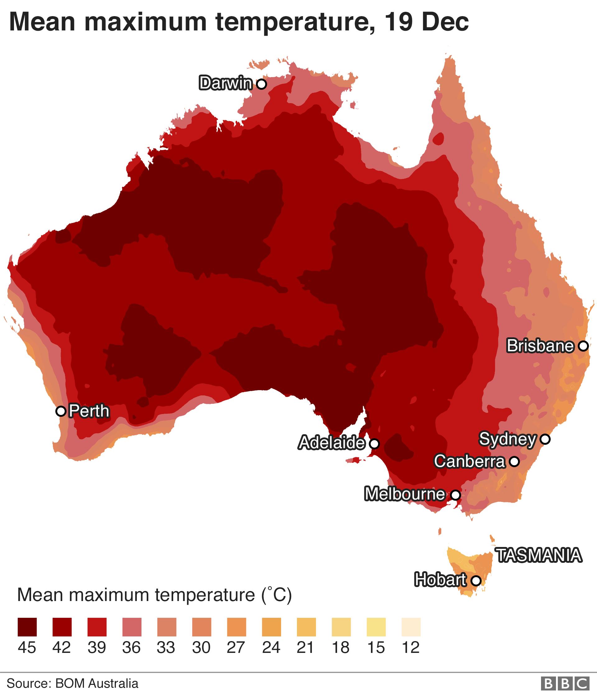 Map: Mean maximum temperatures for 19 December.