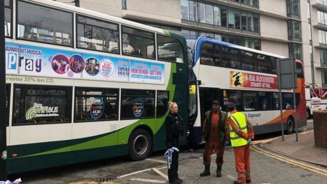 Manchester city centre bus crash leaves passengers hurt
