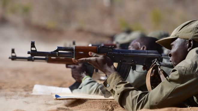 Malian soldiers undergoing training in 2017