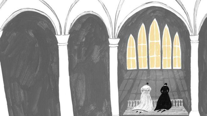 Ilustração com duas mulheres ajoelhadas