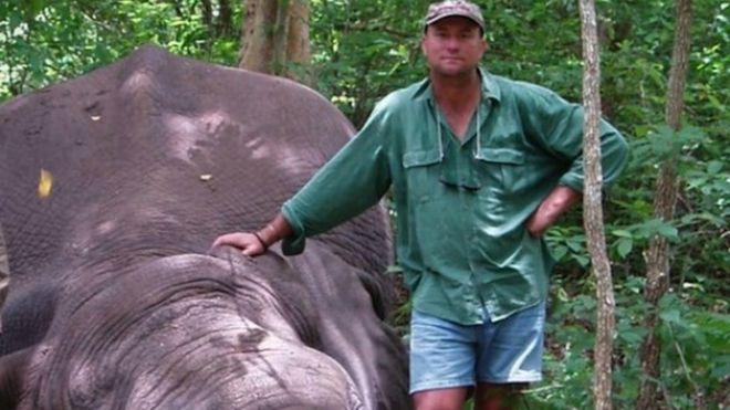 Theunis Botha with a dead elephant