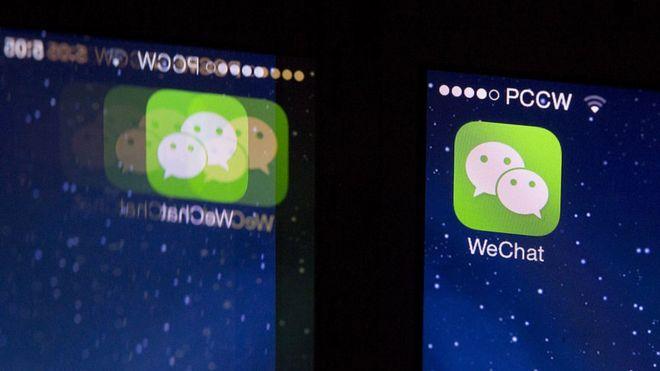 WeChat en un teléfono móvil