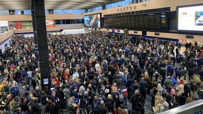 Crowded Euston concourse