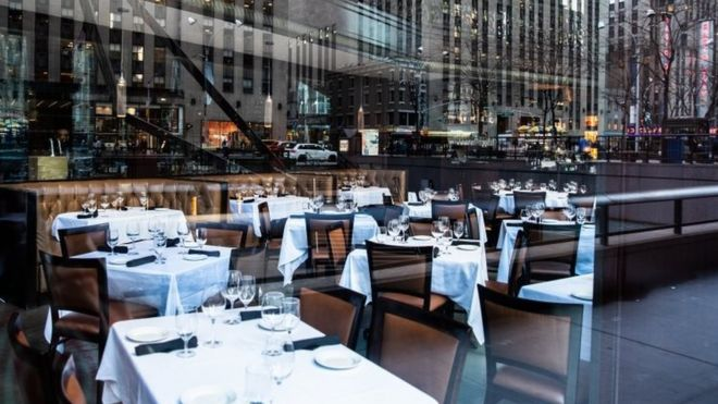 An empty restaurant in New York City. Photo: 13 March 2020