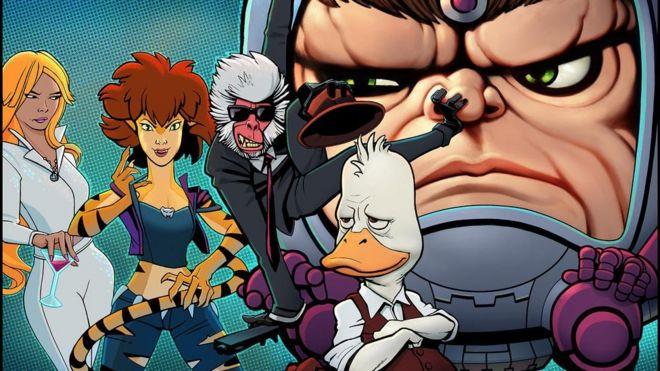Wonderpersonages MODOK, Hit-Monkey, Tigra, Dazzler en Howard the Duck