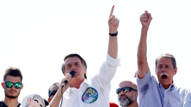 O presidenciável Jair Bolsonaro (PSL) em ato de campanha no Distrito Federal, em 5 de setembro