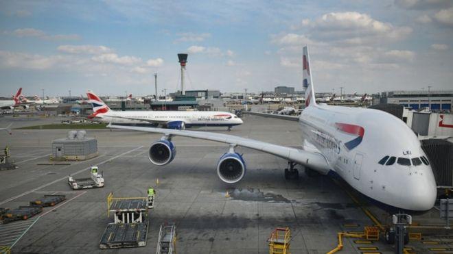 Aviones de British Airways en el aeropuerto de Heathrow
