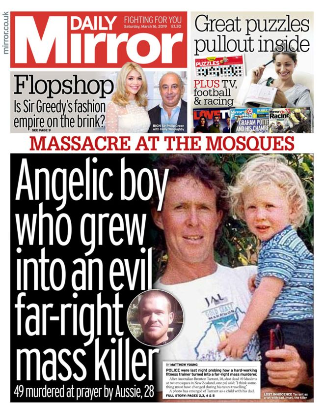 Image result for british tabloid cover new zealand shooting