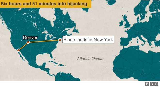 Plane lands in New York - Six hours and 51 minutes into hijack