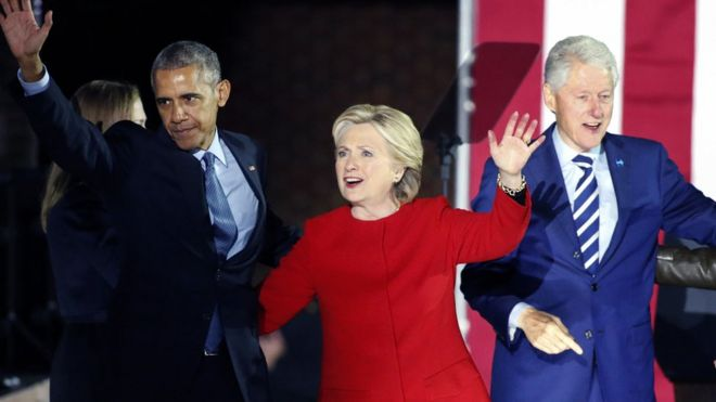 Former President Barack Obama, Hillary Clinton and former President Bill Clinton.