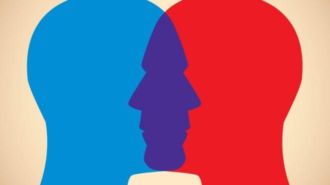 ilustração de rosto azul e vermelho