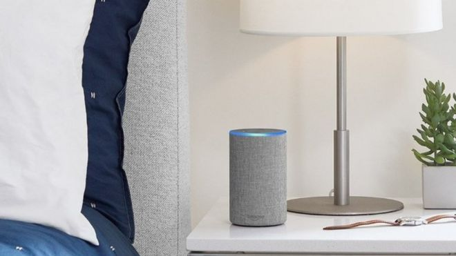 Amazon Echo by a bedside table