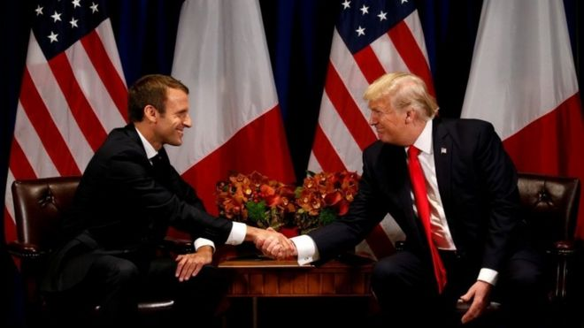U.S. President Donald Trump meets French President Emmanuel Macron in New York, U.S., 18 September 2017