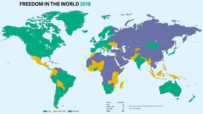 Freedom house ülkeler haritası