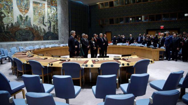 Собравшаяся толпа наблюдает за вновь избранными членами в зале Совета Безопасности ООН