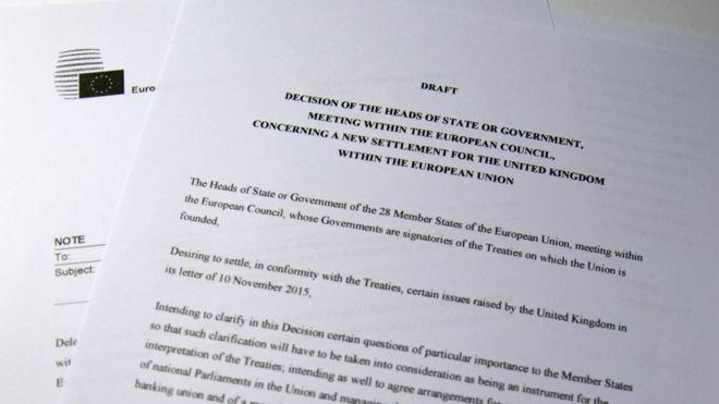 Копия проектов предложений по реформе ЕС, выпущенных Дональдом Туском 2 февраля 2016 года