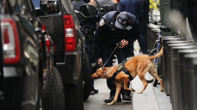 A police bomb sniffing dog is deployed in New York after an explosive device was found