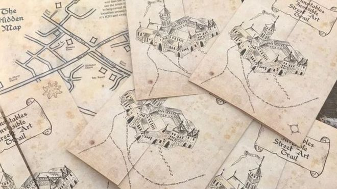 Harry Potter map inspires Dunstable street art trail - BBC News on resident evil map, cancer map, rocky map, tv map, star fleet universe map, lord of the rings map, anime map, disney map, sherlock holmes map, diagon alley map, mauraders map, wizard of oz map, mario map, matrix map, marauder's map, cars map, marvel universe map, alice in wonderland map, middle-earth map, narnia map,