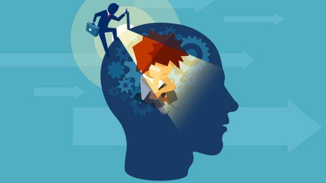 Ilustração mostra cabeça humana iluminada e cheia de engrenagens, como se houvesse uma maquinaria em investigação