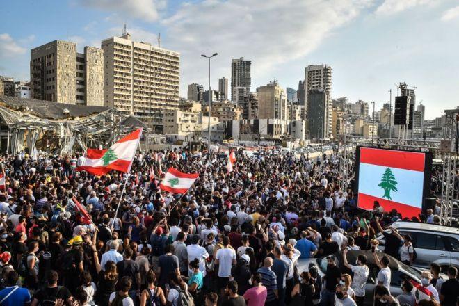 مظاهرة قرب مرفأ بيروت، 11 أغسطس/آب 2020