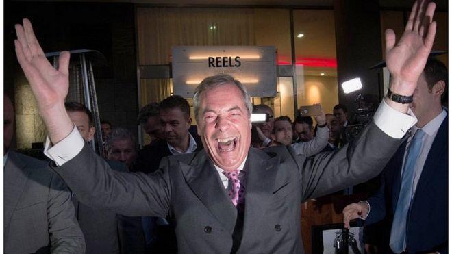Nigel Farage celebrates the Leave vote in 2016
