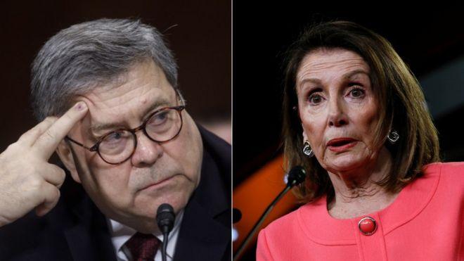 Attorney General William Barr and US Speaker Nancy Pelosi