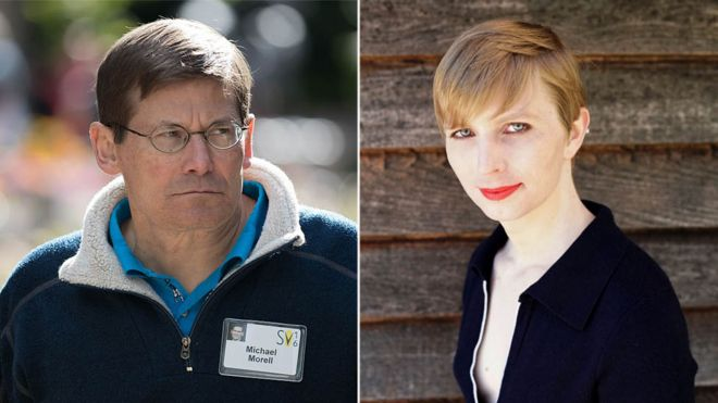 Michael Morell (trái) và Chelsea Manning (phải)