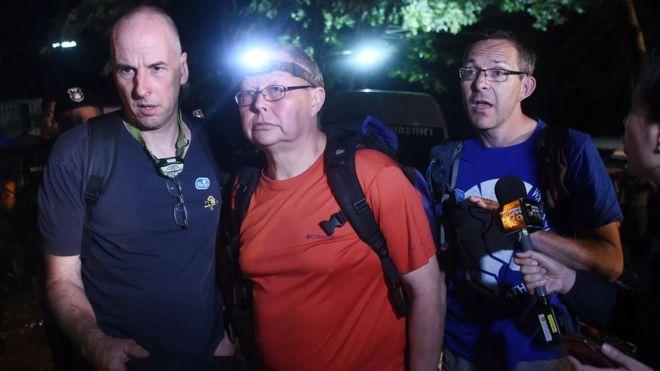 Британские спасатели Ричард Стантон, Роберт Харпер и Джон Волантен (слева направо)