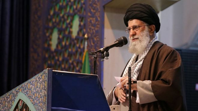Image shows Ayatollah Ali Khamenei on Friday 17 Jan 20