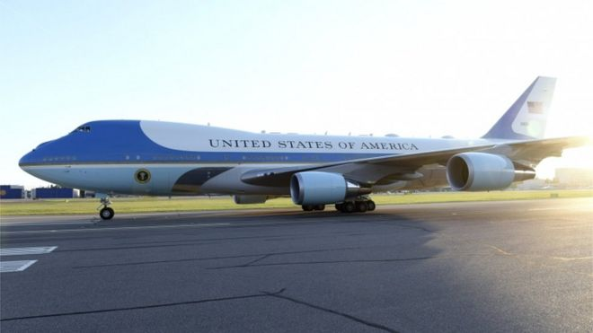 best authentic 6e369 dae7a Trump to redesign Air Force One to be  red, white and blue  - BBC News