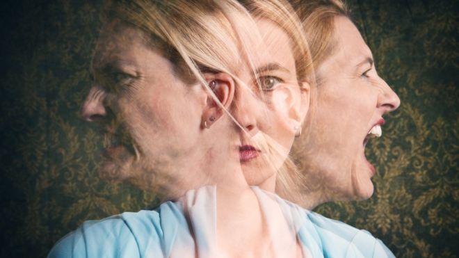 Mulher com diferentes expressões