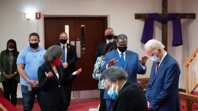 Joe Biden en Iglesia episcopal metodista africana Bethel en Wilmington, Delaware.