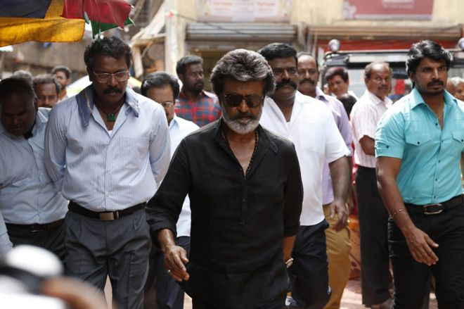 A still from Rajinikanth 's latest movie Kaala