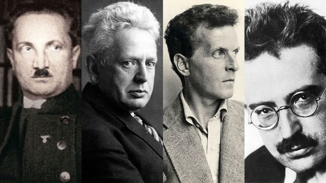 Da esquerda para a direita: Martin Heidegger, Ernst Cassirer, Ludwig Wittgenstein e Walter Benjamin