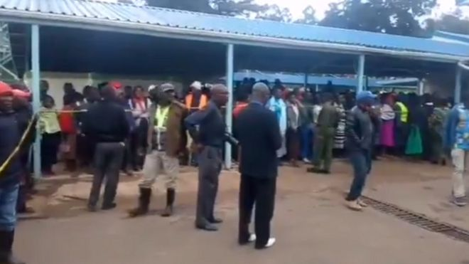 Videos showing people gathering outside a hospital where children were being treated in western Kenya
