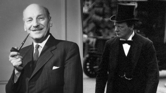 Премьер-министр труда Клемент Эттли и консервативный премьер-министр Уинстон Черчилль