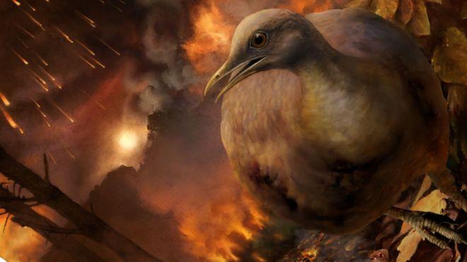 Ilustração simula momento da queda do asteroide