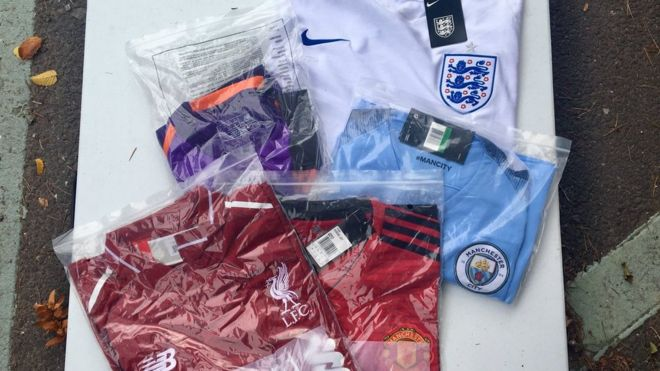 Football shirts amongst counterfeit goods seized in Shropshire - BBC