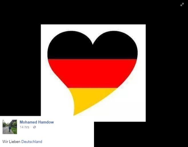 "Images such as this one were being shared widely on social media. The message says ""We love Germany"""
