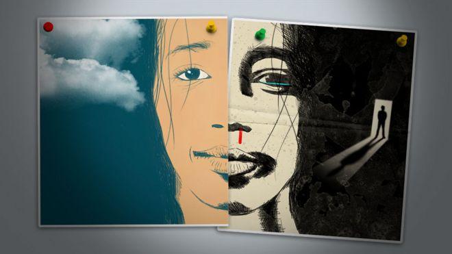 Una ilustración muestra a una mujer cuya cara está dividida en dos.