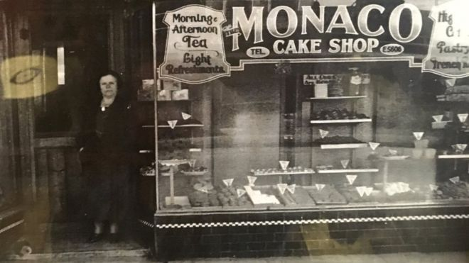A period photo of Monaco Cake Shop