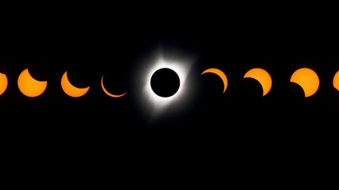 A composite image of the total solar eclipse seen from the Lowell Observatory Solar Eclipse Experience August 21, 2017 in Madras, Oregon.